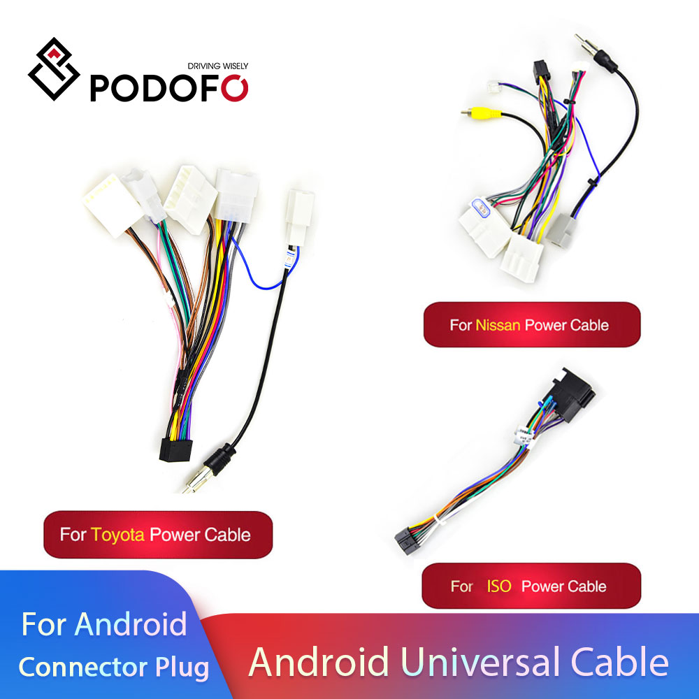 Podofo Android 2 Din Car Radio Multimedia Player Universal Accessories Wire Adapter Connector Plug Cable For VW Nissian Toyota