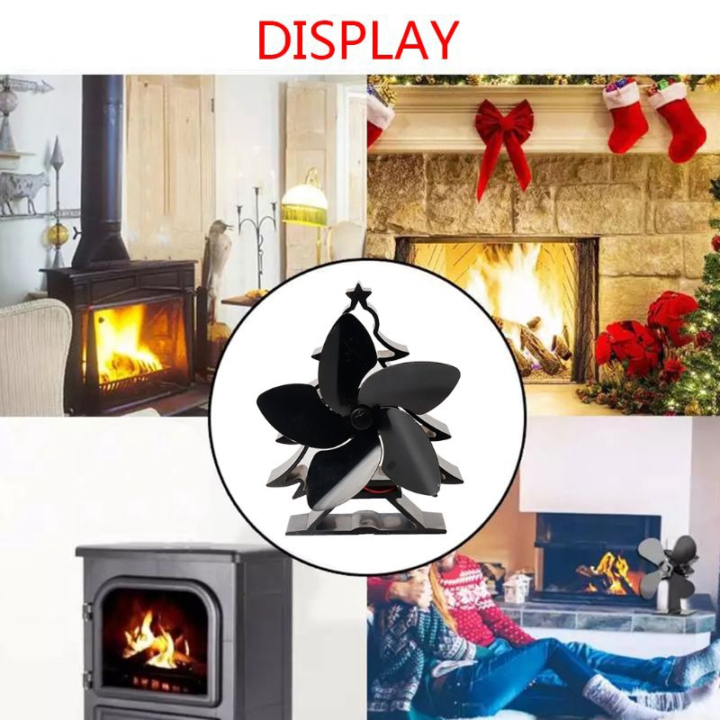 Christmas Tree Themed Heat Powered Stove Fan For Log Wood Burners 5 Blades Heater Stove Fan