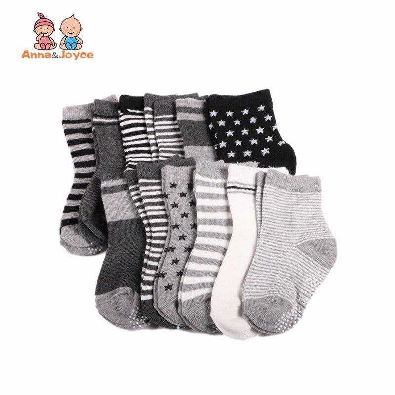 ( 12 Pairs/lot ) 100% Cotton Baby Socks Boys Slip-resistant Floor Socks Cartoon Socks 1--2years