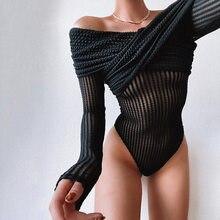2021 primavera sexy malha bodysuit manga longa preto retalhos slash neck magro ver através bodysuits moda feminina streetwear