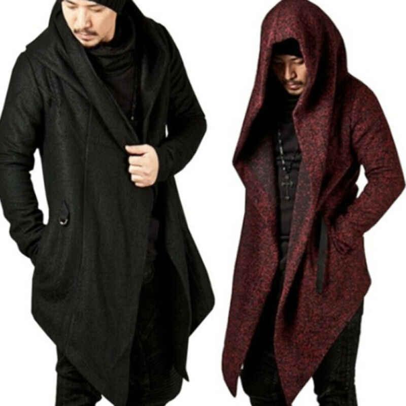 Mens Long Trench Coat Winter Long Hoodie Cardigan Cape Coat Loose Jacket Overcoat
