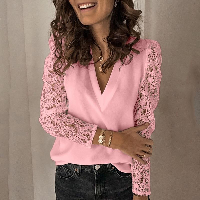 Женская шифоновая блузка, весна-лето 2020, кружевной топ с v-образным вырезом, 5XL, вышивка, длинный рукав, рубашка в стиле пэчворк, большие разме...