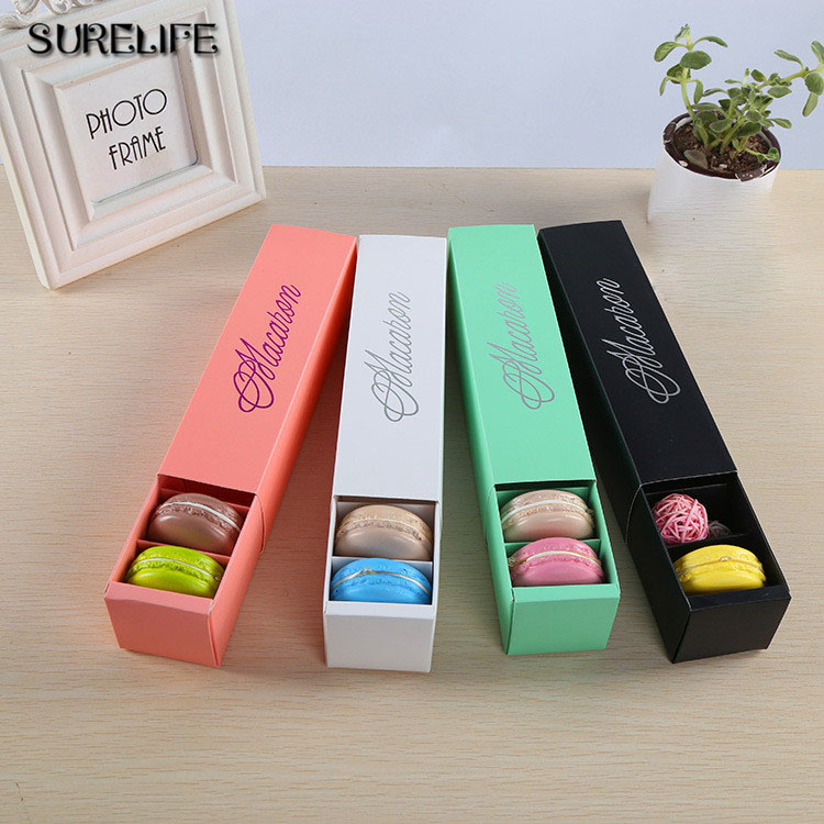 30pcs Pink White Black Green and Red Dessert Macaron box 6 cavities colorful macarons pastry packaging boxes