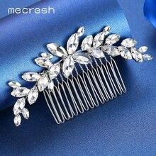 Mecresh Clear Marquise Crystal Wedding Hair Combs / Pins Bridal Accessories Leaf Ornaments Jewelry Bride Tiara FS260