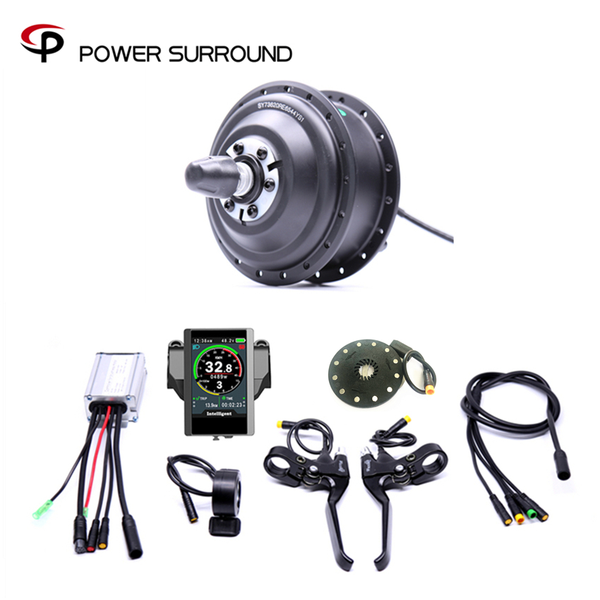 Kolorowy wyświetlacz wodoodporny elektryczny 36v350w przód/tył zestaw do konwersji roweru elektrycznego bezszczotkowe silniki piasty z systemem ebike