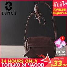 Zency 100% Echt Leer Vrouwen Messenger Bag Vintage Handtas Hoge Kwaliteit Schoudertassen Vrouwelijke Crossbody Zachte Casual Purse