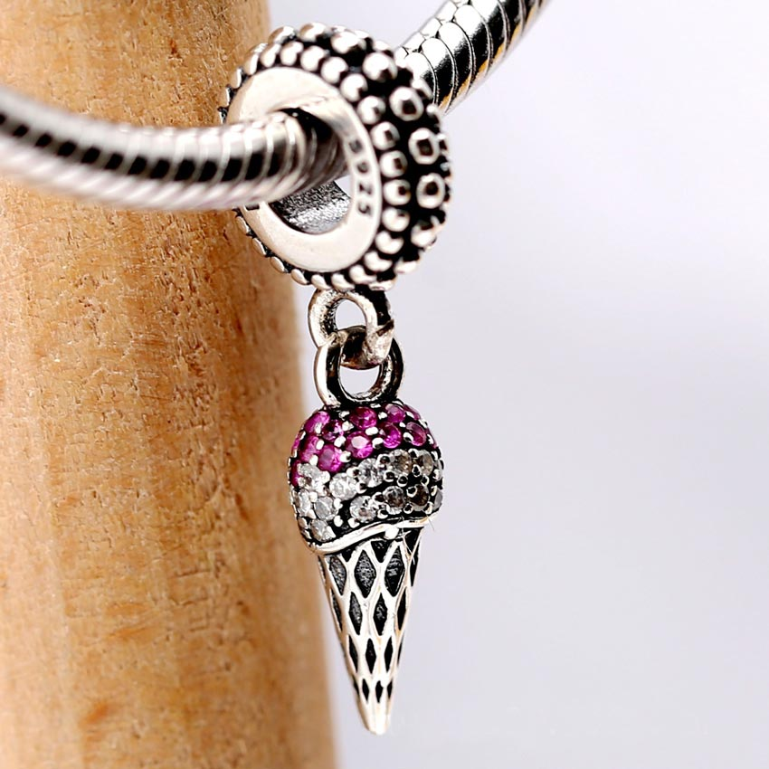 S925 Bead Charm Pave Ice Cream Cone With Crystal Pendant Beads fit Lady Bracelet Bangle DIY Jewelry