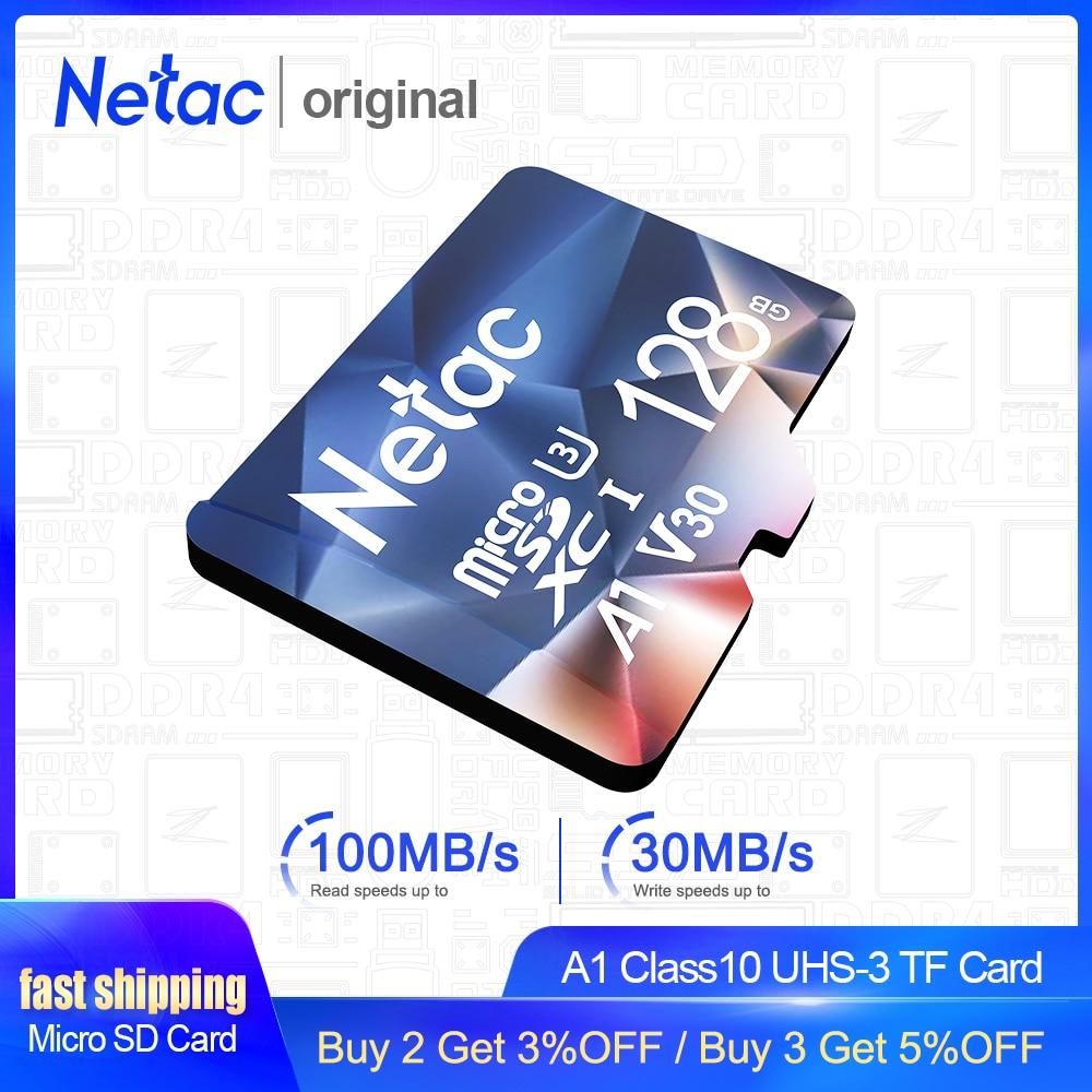Netac Memory Card 128GB 32GB 16GB 100MB/S 64GB Micro SD Card A1 Class10 UHS-3 Flash Card Memory Microsd TF/SD Card Hot Sale P500