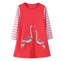 Vestido de flamenco para niño niña, ropa para niño, traje de princesa con apliques de animales, ropa de algodón para niña de 2 a 7 años