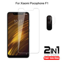 2 in 1 For Xiaomi Pocophone F1 Camera Lens Film & Screen Protector Guard Protective HD Tempered Glass Explosion Proof