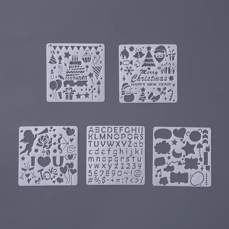 5pcs/set Stencil For Painting Squart Birthday Christmas Festival Stencil For Painting Stencil Templates Stencil Para Pintura