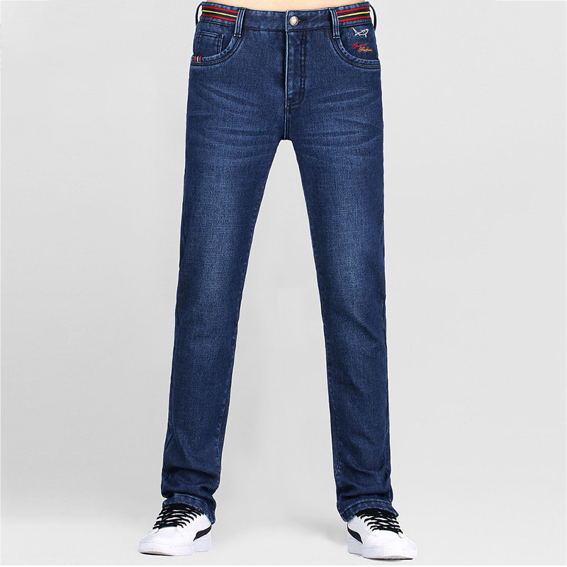 Bruce&Shark Fashion Men Cashmere Jeans Elastic Trousers Slim Fit  Brand Jeans With Logo Stretch  Jeans 8257 Large Size