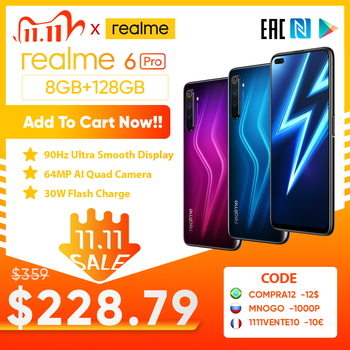 realme 6 Pro Unlockphone 8GB RAM 128GB ROM Mobile Phone Snapdragon 720G 4200mAh Battery 30W fast Change 64MP Camera Smartphones