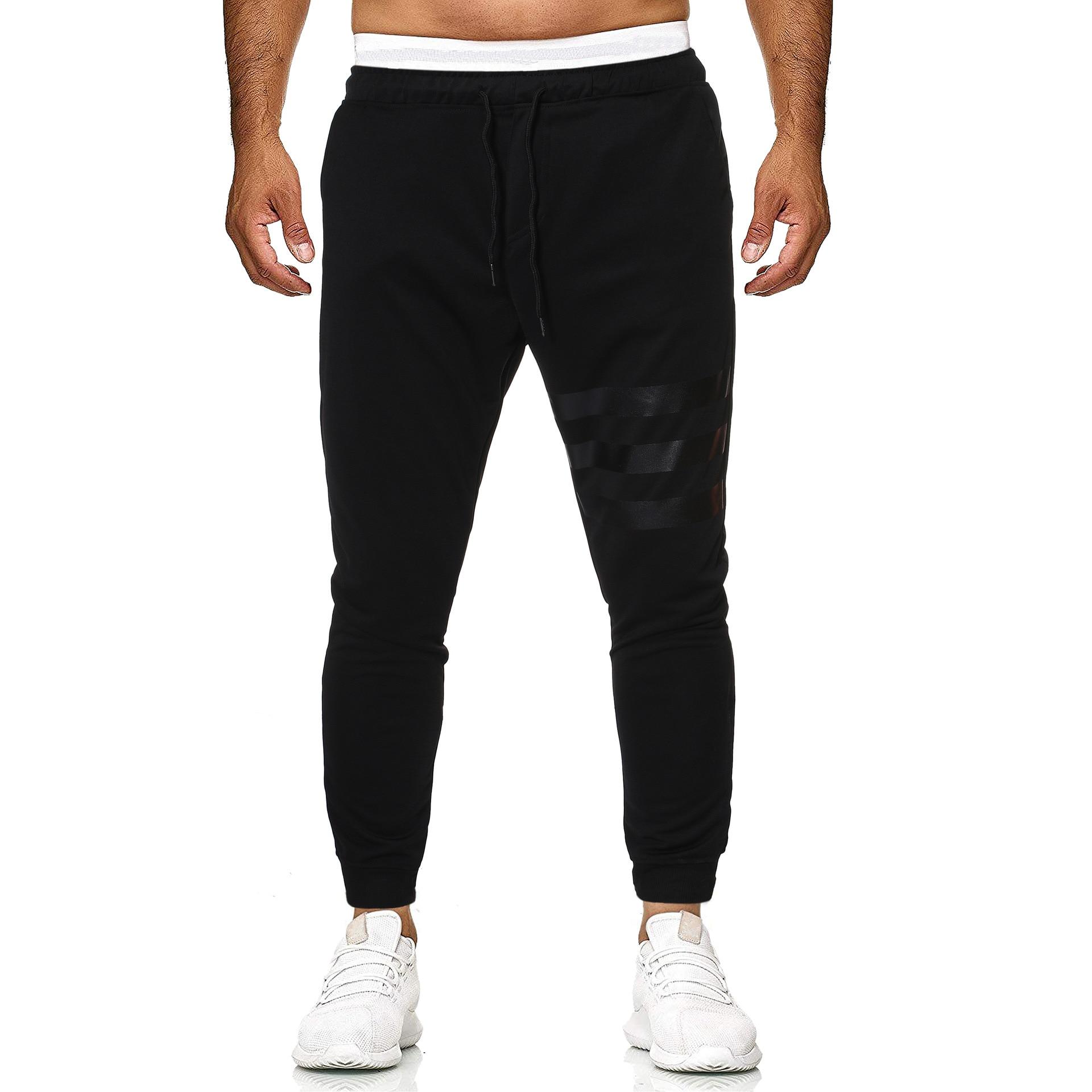 Trousers Men's 2019 Summer New Style Fashion Men Casual Trousers Black Three Lever Beam Leg K102