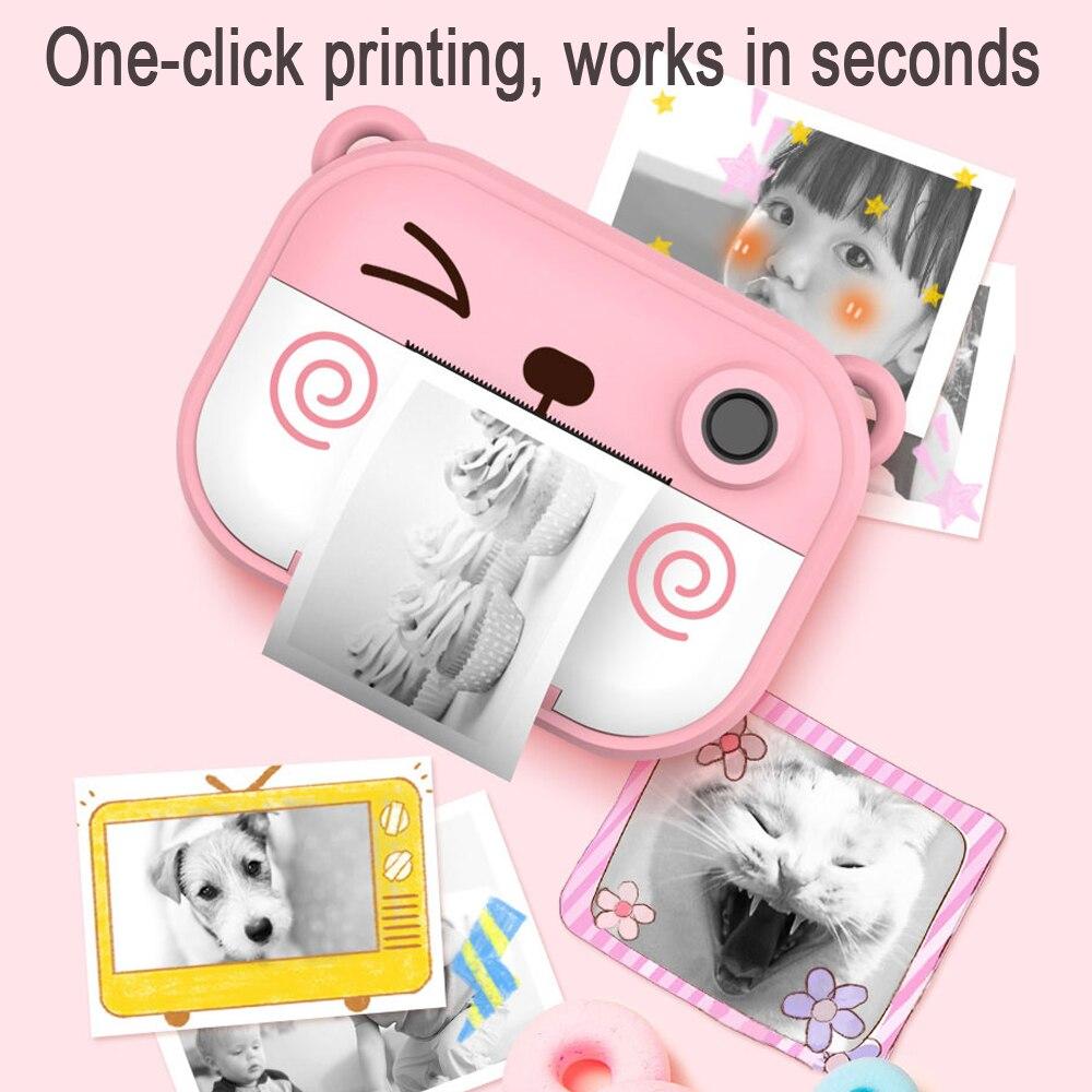 Bonita impresora térmica instantánea HD para niños, cámara Dual con lente LED, pantalla IPS, vídeo, regalo exterior para niños, foto adhesiva DIY