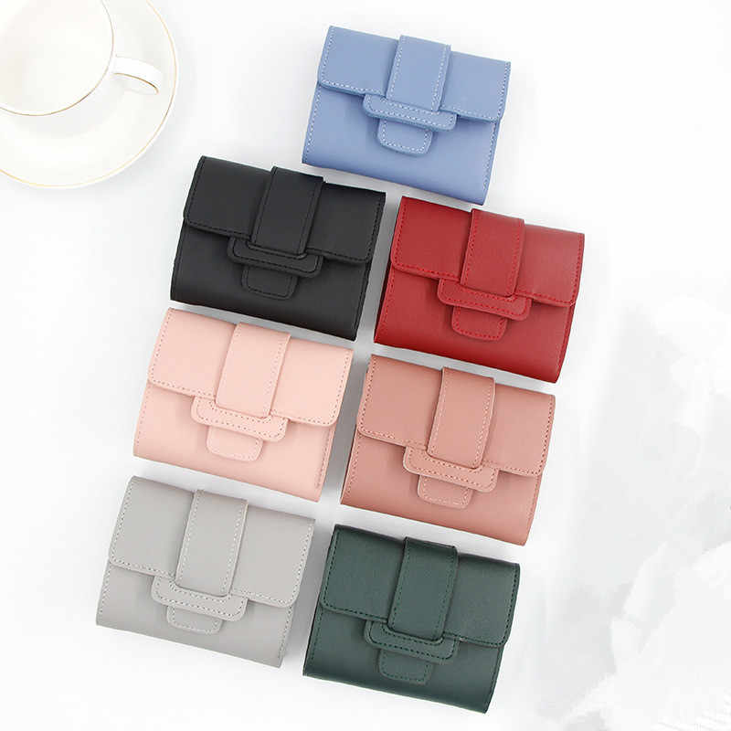 New Ladies Short Wallet women Candy Color Drawstring Small Tri Fold Wallet Student Short Wallet Wallet