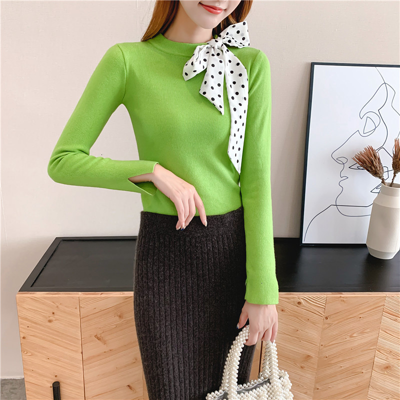 Women Knit Sweater Pullover Autumn Winter Clothes New Leopard Bow Tie Slim Pull Knitwear Sweater Jumper Long Sleeve Female Tops 5