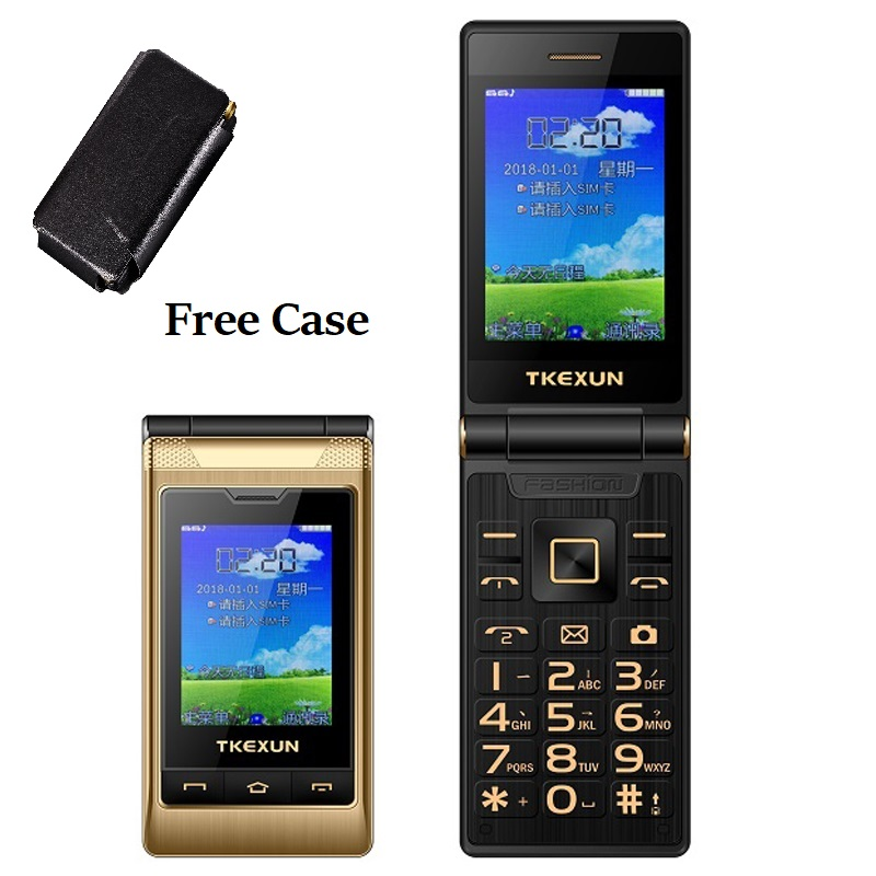 Tkexun Free Case Dual Screen Touch 2.8'' Display Dual Answer Blacklist Quick Dial SOS Call Large Key Flashlight Flip Mobile Phone