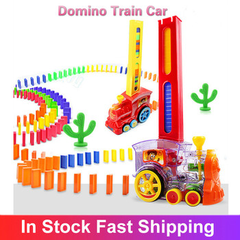 Domino Train Car Set Kids Sound Light Automatic Laying Domino Brick Colorful Dominoes Blocks Game Toys Set Gift For Boys Girls image