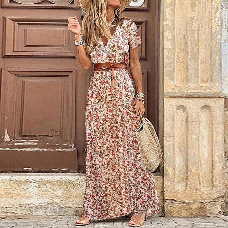 Letnia plaża Maxi sukienka kobiety kwiatowy Print długa sukienka Boho Casual dekolt w serek Split Sexy Party sukienka Femme