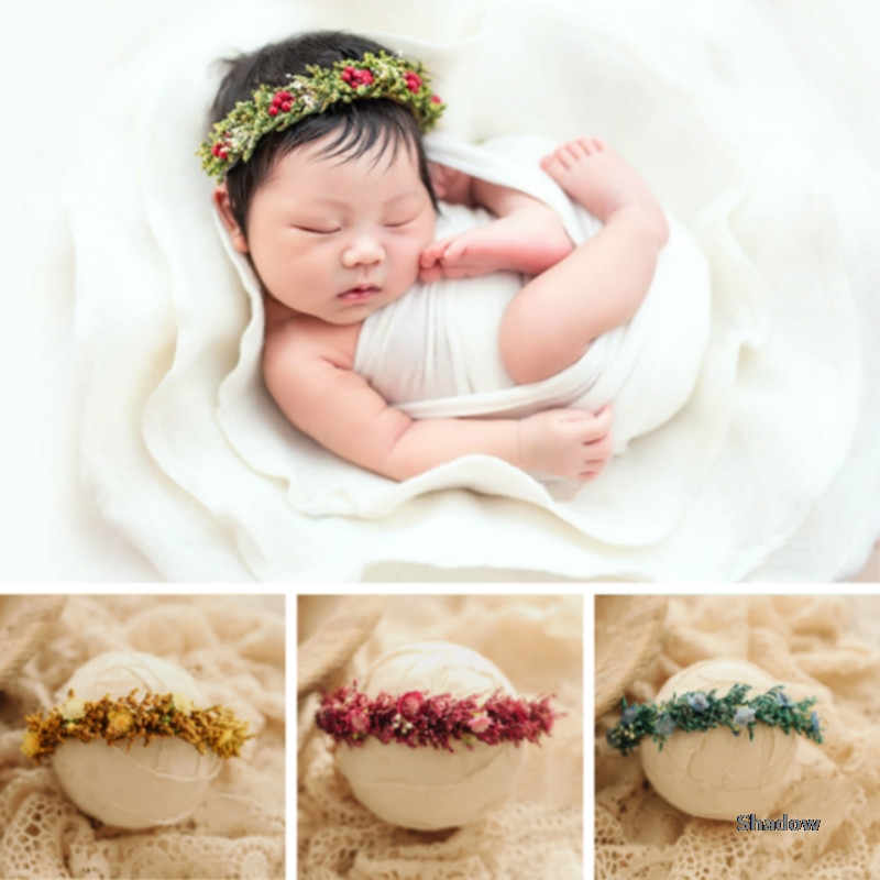 Opaska niemowlęca boże narodzenie noworodek fotografia rekwizyty Infantil sesja zdjęciowa akcesoria Handmade nakrycia głowy dla dzieci stroik kwiatowy