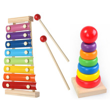 Baby toy Music Instrument Toy Wooden Frame Style Xylophone Children Kids Musical Funny Toys Rainbow Tower Educational Gifts