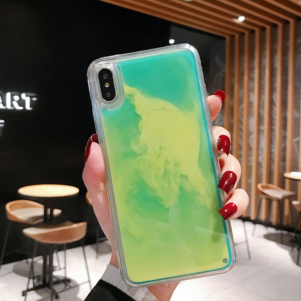 Cell Phone - New Fashion Noctilucent Dynamic Liquid Quicksand For iPhone 6 6S 7 8 Plus X XR XS Max Phone Cases Trend Luminous Case