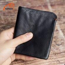 NUPUGOO – portefeuille Slim en cuir véritable pour hommes, petit porte-monnaie de crédit, Business