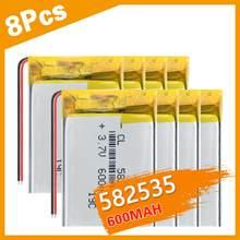 3/4/8 sztuk akumulator 582535 3.7V 600mAh litowo-polimerowa bateria lipo do zegarka GPS LED Light MP3 dvr film nawigacyjny rejestrator