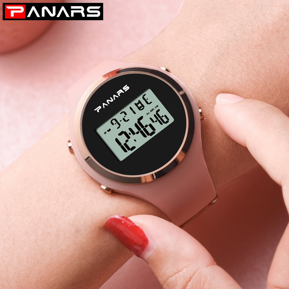 Fashion Women Sports Watches Digital 5bar Waterproof Silicone Strap Luminous Alarm Clock Ladies Wristwatch Relogio Feminino