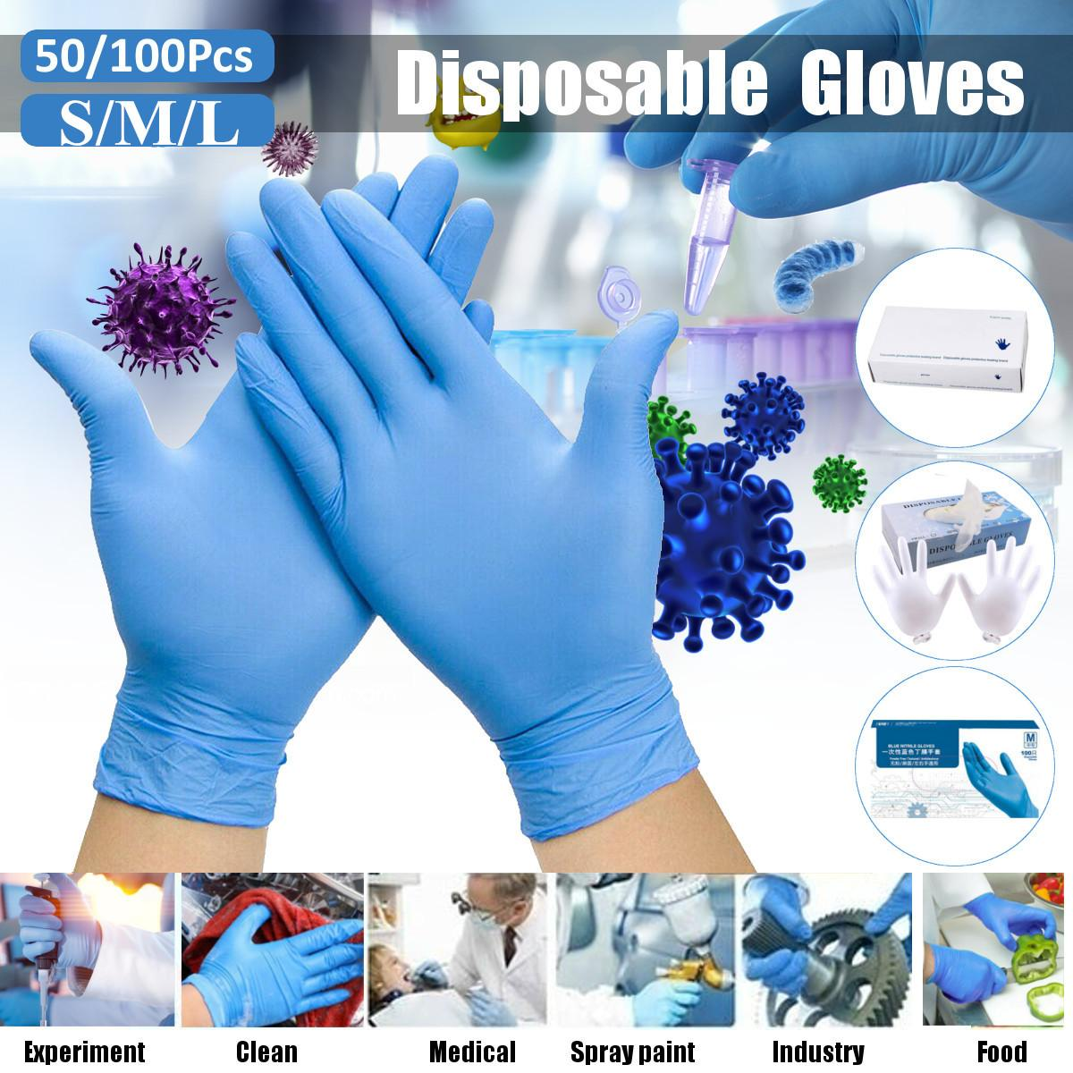 100Pcs/box Household Cleaning Washing Disposable Mechanic Gloves Blue Nitrile Laboratory Nail Art Anti-Static Gloves