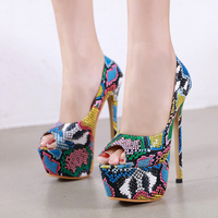 Woman Shoes Snake Prints Peep Toe Pumps 16cm High Heels Shoes Sexy Slip on Platform Slides Plus Size Stiletto Zapatos Mujer