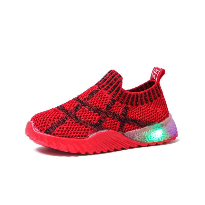 Soft Fashion Solid kids shoes Cute breathable LED lighted children sneakers comfortable baby boys girls toddler tennis Lovely