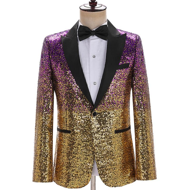 Gradient Sequin Blazer Jacket Men Stage Party Mens Suit Jackets Dress Performance Mens Blazer Wedding Singer Party Costume Homme