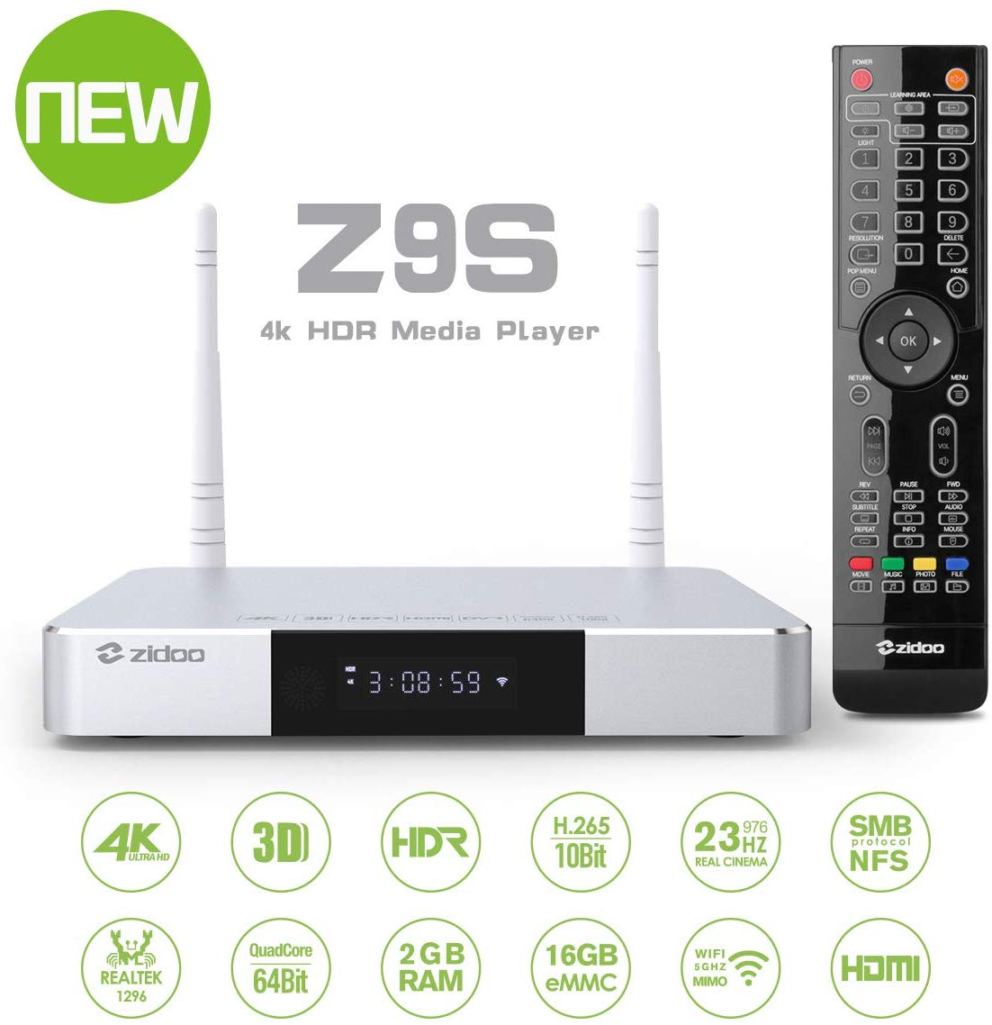 Zidoo Z9S  Android 7.1 TV Box  4K Player 2GB 16GB Dual-WiFi 2.4G 5.0G  USB 3.0 BT 4.0 Smart TV Box With Free Gift