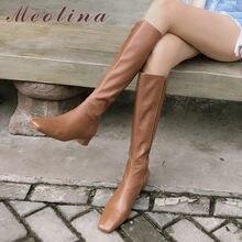 Meotina mulher botas de equitação sapatos de couro genuíno salto baixo botas longas zip dedo do pé quadrado saltos grossos botas longas femininas outono 34-43
