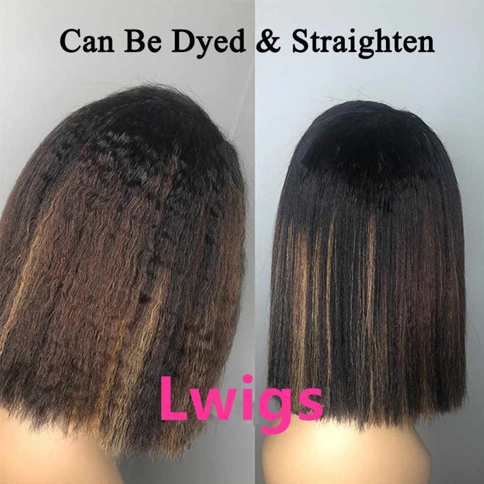 Yaki prosto 13X6 koronki przodu włosów ludzkich peruk Glueless gruba perwersyjne brazylijski krótki bob 360 koronki przodu peruka dla czarnych kobiet