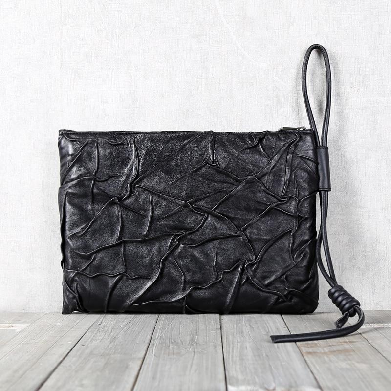 Bolso de mano de piel de oveja superior de cuero genuino suave Casual para hombre carteras largas bolso de teléfono de gran capacidad para mujer bolso de negocios - 6