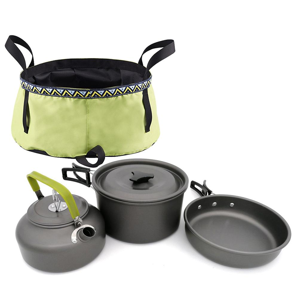 Camping Cookware Outdoor Travel Aluminum Cooking Kits Picnic for 1-2 Person