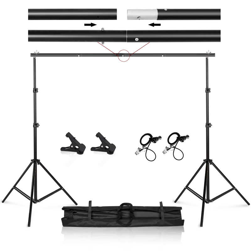 Foto Video Studio 9.8ft Verstelbare Achtergrond Stand Achtergrond Support System Kit Met Draagtas