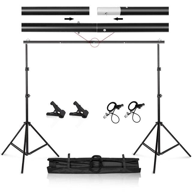 Fotoğraf Video Studio 9.8ft ayarlanabilir arkaplan standı taşıma çantası ile Backdrop destek sistemi seti