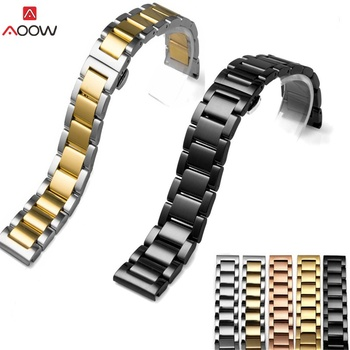 Polishing Stainless Steel Watch Strap Bracelet Black Silver Rose Gold Wristband Butterfly Buckle 16mm 18mm 20mm 22mm 24mm 26mm