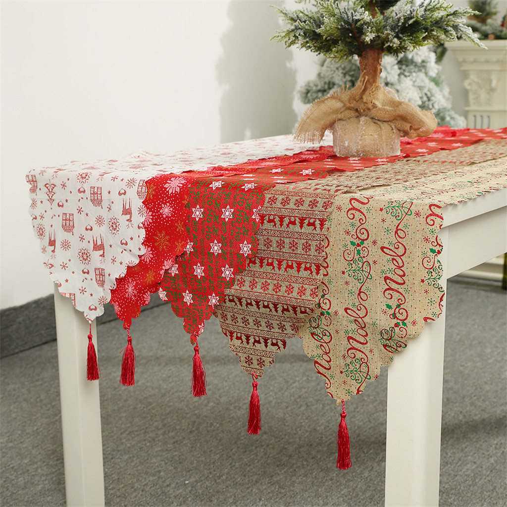 Christmas Decoration Linen Printed Lace Table Flag For Christmas Party Events Decor Tablecloth Navidad Decoraciones #065