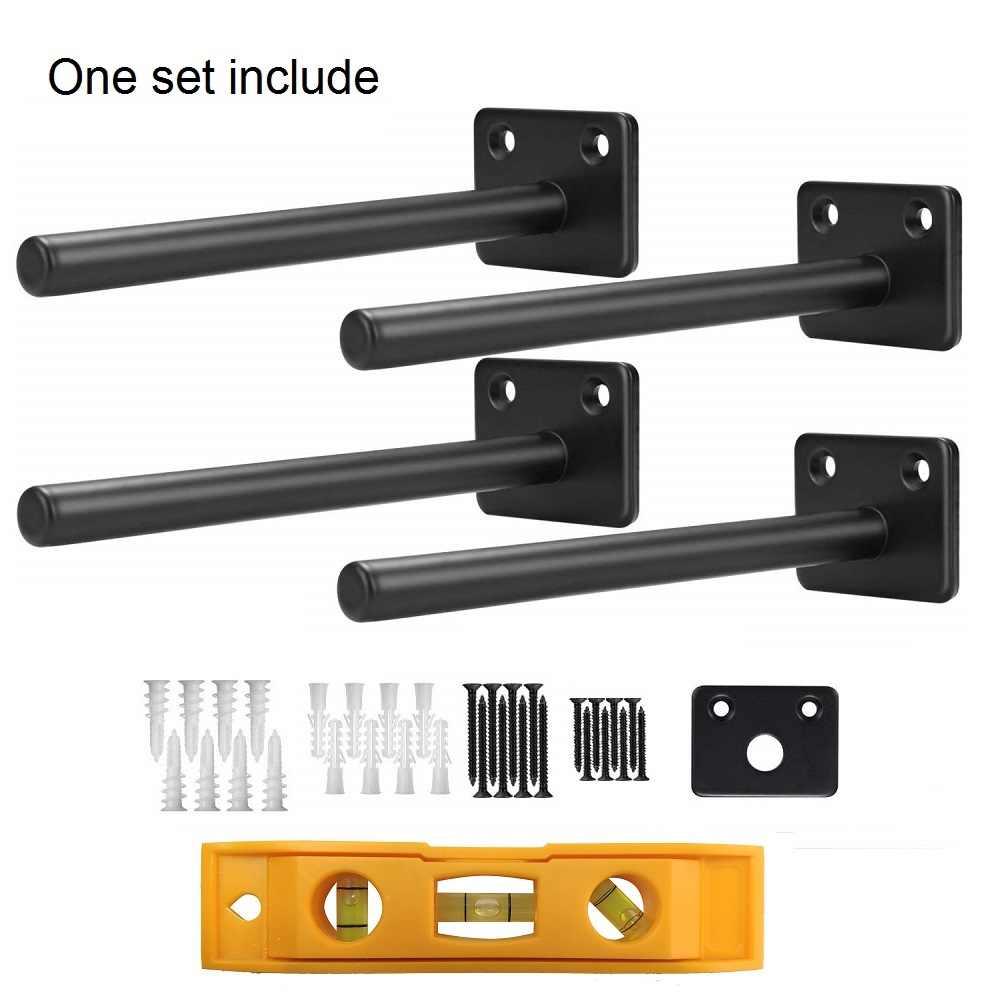 6 Inch Black Floating Shelf Brackets Carbon Steel Heavy Duty Wall Shelf Holder Bracket For Floating Wood Shelves Brackets Aliexpress