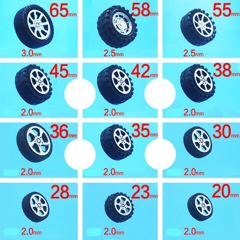 20 pièces Mini roue en caoutchouc bricolage petite Production jouet voiture roue en plastique caoutchouc pneu ouverture 2mm arbre trou voiture roue pour 4WD RC voiture