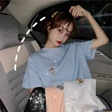 Bordado dos desenhos animados camisetas mulheres harajuku simples t camisa doce casual meninas diamante solto t manga curta coreano estudante topos