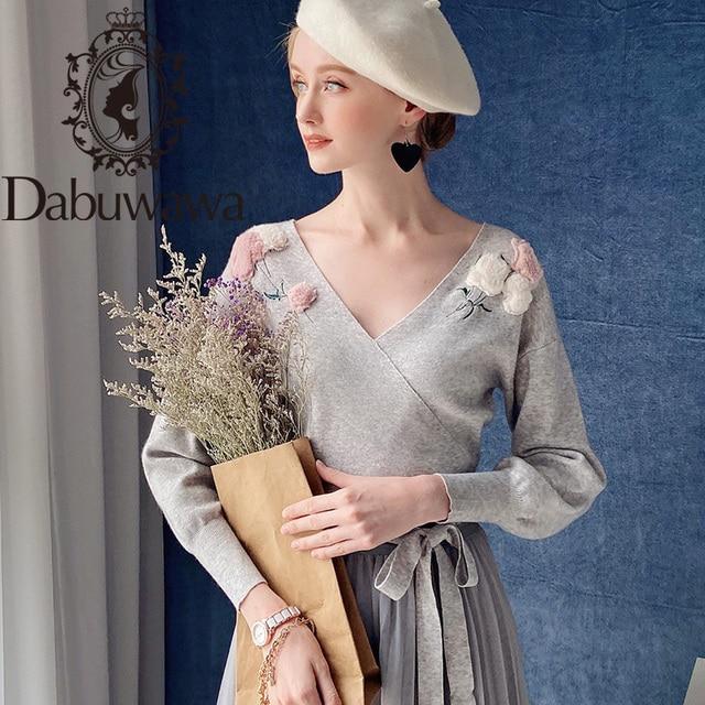 Dabuwawa Elegant Appliques V Neck Sweater Women Lantern Sleeve Sash Hem Tops Fashion Pullovers Sweaters Female DT1DJS017