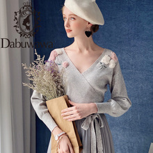 Dabuwawa elegante apliques v pescoço camisola feminina lanterna manga faixa hem topos moda pullovers blusas femininas dt1djs017
