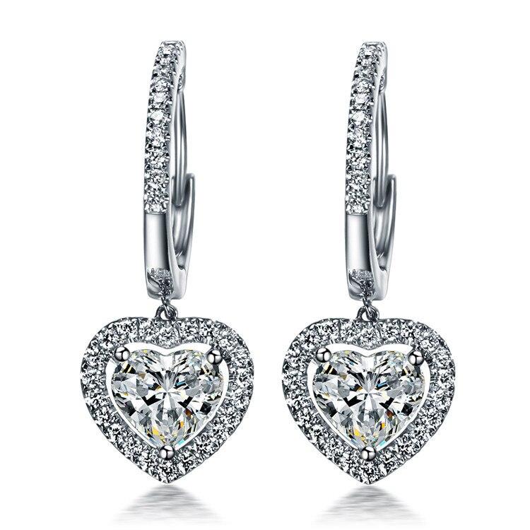 TE210 luxe 1.5 Carats SONA synthétique gemme Halo clouté boucles d'oreilles de mariage, promesse Propose boucle d'oreille, boucles d'oreilles en forme de coeur
