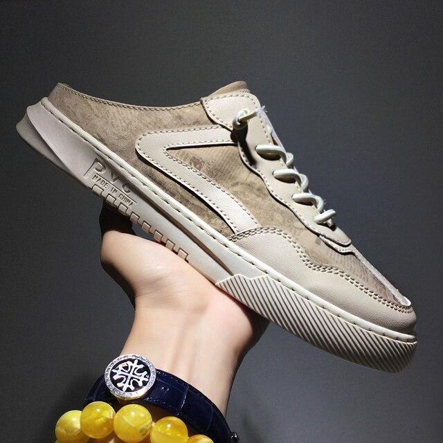 2020 Hot Men Flats Casual Shoes Half Drag Youth Fashion Men Shoes Anti-Slip Men Half slippers Breathable Designer Sneakers Men